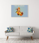 Upside Down Africa Wall Art Print on the wall