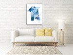 Cerulean Assemblage III Wall Art Print on the wall