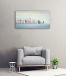 New York Skyline Blue Wall Art Print on the wall