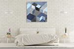 Cubic in Blue I Wall Art Print on the wall