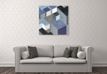 Cubic in Blue II Wall Art Print on the wall