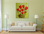 Red Tulips on the wall