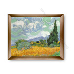 Wheatfield with Cypresses Modern Flat Gold Frame