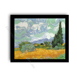 Wheatfield with Cypresses Modern flat black frame