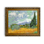 Wheatfield with Cypresses Gold Ornate Outer Frame