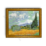 Wheatfield with Cypresses Gold Classic Frame
