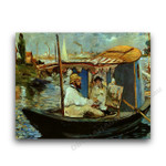 Monet Painting in His Floating Studio