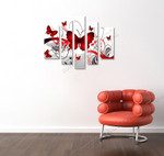 Red Butterflies on the wall