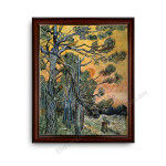 Pine Trees Dark Brown with Gold Inner