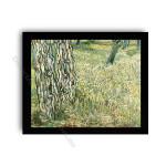 Tree Trunks and Grass Modern Flat Gold Frame