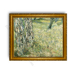 Tree Trunks and Grass Gold Classic Frame