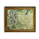 Tree Trunks and Grass Gold Ornate Outer Frame