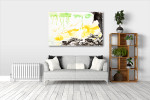 Green, Yellow and Black Art Print on the wall