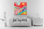 Red Sunset Canvas Art Print on the wall