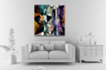 Splashes And Triangles Canvas Art Print on the wall