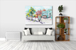 Watercolor Cityscape Art Print on the wall