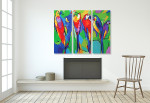 Colorful Birds - 3panels on the wall