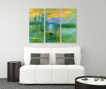 Impressionist Sunrise - 3panels on the wall