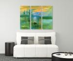 Impressionist Sunrise - 3panels on the wall