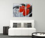 Modern Flower - 3panels on the wall