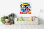 Big Eye Bird Art Print on the wall
