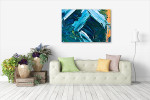 Blue and White Paint Strokes Art Print on the wall