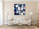 Blue Stains and Spots Art Print on the wall