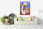 Moonlight Cats Art Print on the wall