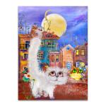 Moonlight Cats Art Print