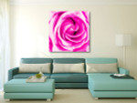 Pink Rose Canvas Art Print on the wall