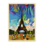 Colorful Abstract of Eiffel Tower Art Print
