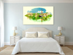 Panoramic View Watercolor Art Print on the wall