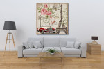 Paris Retro Canvas Art Print on the wall