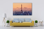 Romantic Sunset View of Paris Art Print on the wall