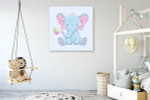 Baby Elephant with Flower Art Print on the wall