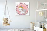 Cute Unicorn Canvas Art Print on the wall