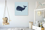 Cutie Whale Wall Art Print on the wall