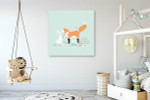 Rabbit And The Fox Art Print on the wall