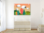 Sheeps Cloud Art Print on the wall