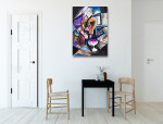 Bottles Cubism Art Print on the wall