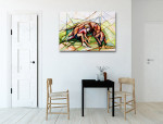 Boy and Dog Canvas Print on the wall
