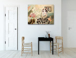 Harlequin and Rose Art Print on the wall