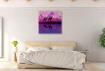 Purple Camel Train Art Print on the wall