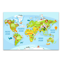 Cartoon World Map Canvas Art Print