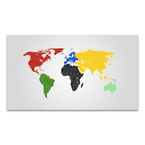 World Map Of Continents Canvas Print