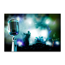 Microphone And Band Wall Print