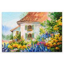 House In Flower Garden Canvas Art Print