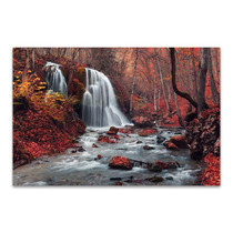 Waterfall In Autumn Wall Print