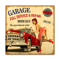 Garage Retro Poster Wall Print