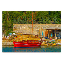 Greek Fishing Boat Canvas Art Print